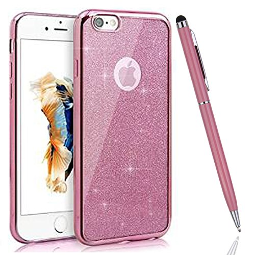 iPhone 5S Coque,iPhone SE Silicone Coque,iPhone 5 Housse - Felfy Glitter Etui Housse Placage Coque en Silicone Ultra-Mince Etui Soft Housse Plating Case Slim Gel Cover, Felfy Etui de Protection Cas Ul rose placage