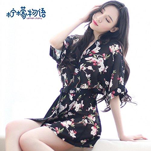 Roleeplay sexy Dessous Blumen Kimono Robe langärmlige Jacke Super Sexy Anzug Anzug Sm Leidenschaft klassische Sicht alle Schwarz (Klassische Kimono-robe)