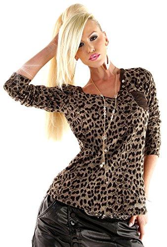 f4y Damen Denim Sweatshirt Longsleeve Afrika - Braun - Size S - V-Neck Denim Long Sleeve Sweatshirt