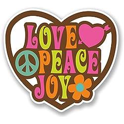 2 x 10cm Love Peace Joy Vinyl Decal Sticker Laptop Flower Hippy Camper Van #5638