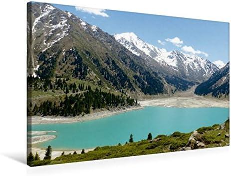 Premium Textile Toile de 45 cm x 30 cm paysage Grand Lac ALM atiner, le Kazakhstan   Expédition Rapide