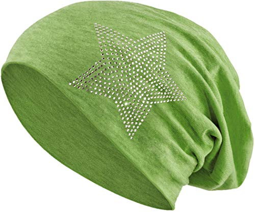 Jersey Baumwolle elastisches Long Slouch Beanie Unisex Herren Damen mit Strass Stern Steinen Mütze Heather in 35 (2) (Heather Green) (Ab Green Strass)