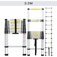 Finether Échelle Télescopique Aluminium Portable 3,2M Multi-Fonction, EN131 Certifié, 11 Echelons , 150 Kg Capacité