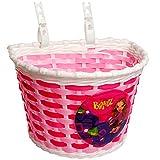 Unbekannt Fahrradkorb / Korb -  Bratz Puppe - pink / rosa weiß  - mit Befestigung für Lenker vorne - Fahrrad Kinder - Mädchen Jungen - Bastkorb - universal auch für R..