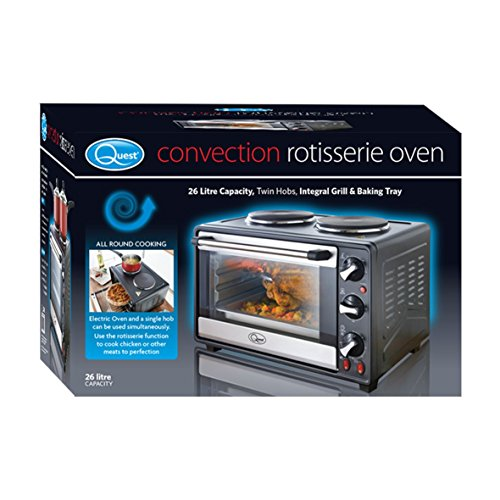 51WTk4GSRCL. SS500  - Quest 35370 Mini Oven with Rotisserie and Double Hot Plates, 26 Litre, 1800 W, Black