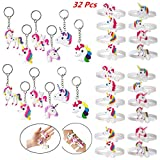 Feidiao Unicorn Key Chain Bracelets Wristband,Unicorn Birthday Party Favors Supplies for Kids Girls