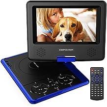 """Reproductor de DVD Portátil de 7.5"""" con Pantalla Giratoria, 5 Horas recargable incorporada de la batería, Compatible con Tarjetas SD y USB, con el cargador del coche y dispositivo de juego - Azul"""