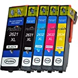 1 Set of 5 Compatible Epson 26XL / T2621, T2631, T2632, T2633, T2634 Multipack ink Cartridges for Epson Expression Premium XP-510, XP-520, XP-600, XP-605, XP-610, XP-615, XP-620, XP-625, XP-700, XP-710, XP-720, XP-800, XP-820 Printers (1x Large Black, 1x Photo Black, 1x Cyan, 1x Magenta, 1x Yellow)