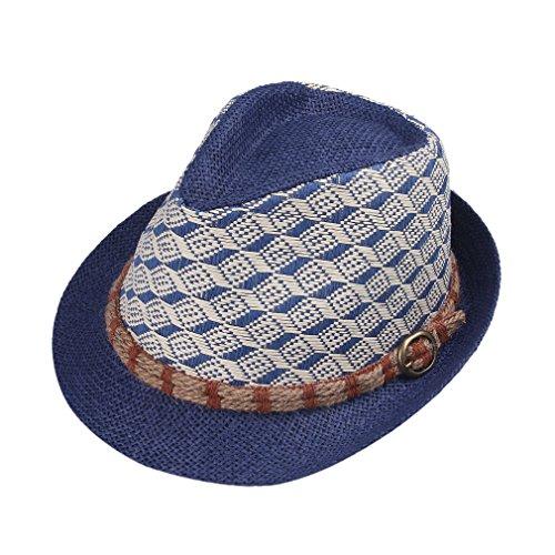 Bigood Chapeau Fedora Unisexe Paille Cow-Boy Carreau Style Classique Bleu