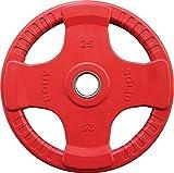 Body-Solid Olympic 4-Griff Farbige Gummi Hantelscheibe Orck-50 mm Olympic 50 Mm Hantelscheibe, Rot, 25 kg