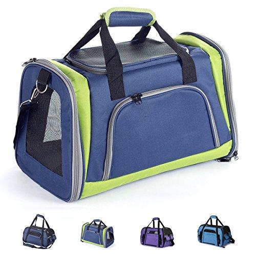 Zedelmaier Faltbare Hundetasche, Hundetragetasche, Katzentragetasche, Transporttasche Transportbox für Hunde und Katzen (L - 48 x 25,5 x 33 cm, Marineblau & Grün)