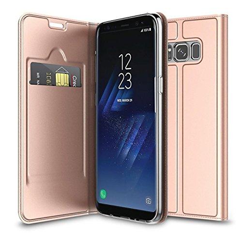 Verco Handyhülle für Galaxy Note 8, Premium Handy Flip Cover für Samsung Galaxy Note 8 Hülle [integr. Magnet] Book Case PU Leder Tasche, Rosegold