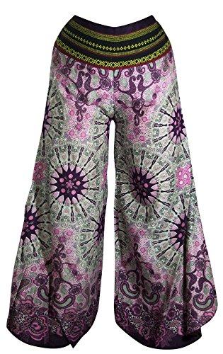 Palazzo-Hosen mit weiten Hosenbeinen, Schlaghosen Hippy Boho Gypsy Festival Hipster Style (Palazzo Light Pink Paisley Mandala) (Gypsy Paisley)