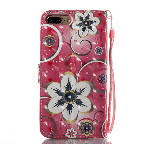 EUWLY Case Cover per iPhone 7 Plus/iPhone 8 Plus (5.5) Custodia Portafoglio PU Pelle Libro Flip Wallet Protettivo Case Cover Glitter Bling Brillante Pelle Custodia Premium Morbido PU Leather Portafog Fiore di Tulipano