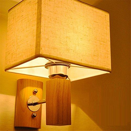 E27 moderno creativo de madera pastoral de tela pantalla LED lámpara de pared dormitorio pasillo de la cama pasillo sala de estar Hotel resturant lectura luz de pared interior casa oficina centro comercial,A