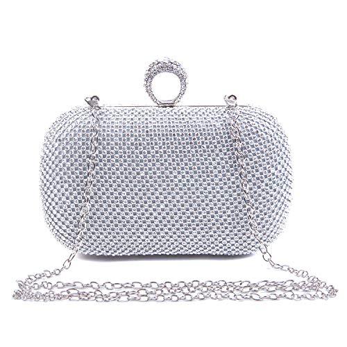 EVEOUT Abend-Clutch mit Schimmerndem Kristalldiamant für Damen, Damen Party Hochzeit Prom Tasche Braut Großes Geschenk Wahl Ringkupplung Handtaschen für Mädchen (Taschen Damen-braut-abend)
