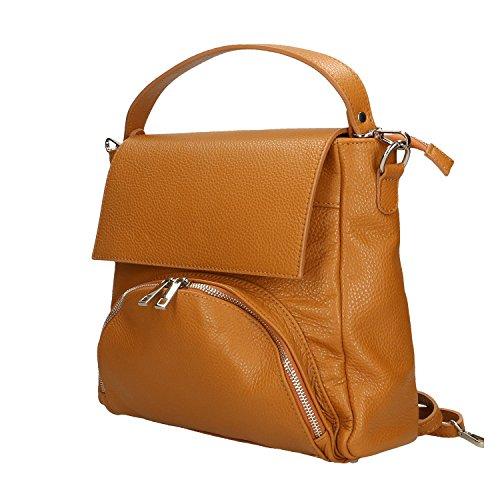 Chicca Borse Handbag Borsa a Mano in Vera Pelle Made in italy - 27x27x8 Cm Cuoio
