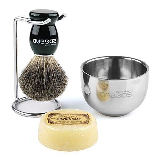 Rasierset Luxus Herren Geschenk Set Rasierpinsel reines Dachshaar shaving brush badger Rasierseife Rasierschale
