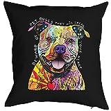 Pitbull - Kissenbezug - Hunde Neon Pop Art Motiv - Beware Of Pit Bulls - buntes Hunde Portrait - Motiv Kissenhülle Deko 40x40cm schwarz : )