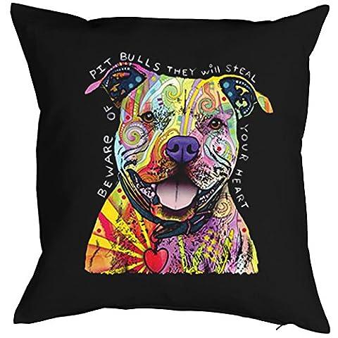 Pitbull - Kissenbezug - Hunde Neon Pop Art Motiv - Beware Of Pit Bulls - buntes Hunde Portrait - Motiv Kissenhülle Deko 40x40cm schwarz : ) - Originale Cane Pop Art