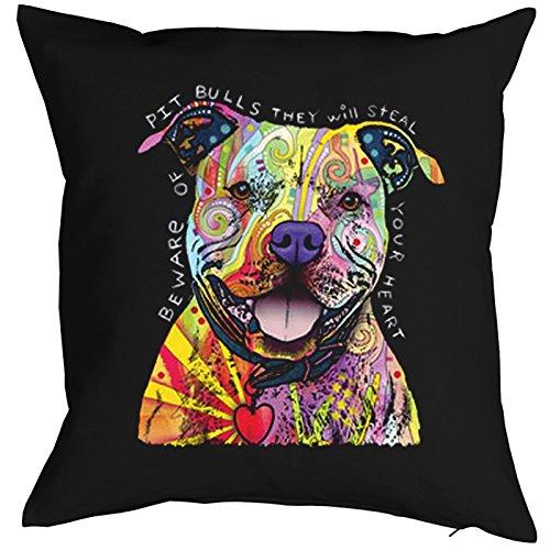Pitbull-Federa-cani Neon Pop Art motivo-Beware of Pit Bulls-Buntes cani Portrait-motivo per cuscino decorativo 40x 40cm