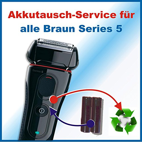 Premium Akkuwechsel für alle Braun Rasierer der Series5 mit vorab zugesendetem Versandmaterial - sämtliche Modelle z.B. folgende Modelle: 5751 530 550 560 570cc 5050-cc 5090-cc u.a.