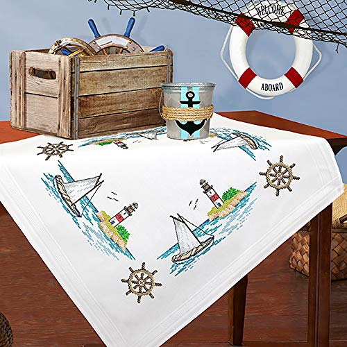 Kamaca Stickpackung Tischdecke SEGELBOOT und Leuchtturm Kreuzstich vorgezeichnet aus Baumwolle zum Selbersticken (Mitteldecke 80x80 cm)