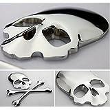 Ewin24 1pcsx Argent 3d 3m Skull Métal Skeleton Crossbones Design Autocollant Voiture Étiquette Crâne Badge Emblem Moto Bike