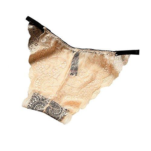 Meijunter 2Pcs Transparent Full Lace Unterwäsche Niedrige Taille Ultra dünn Höschen Slip LightNude