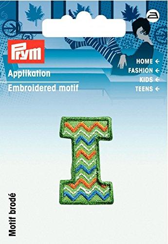 Prym Eisen auf Bestickt Kids Buchstabe Motiv Applikation Buchstabe I–Grün & Multicolor–Jede
