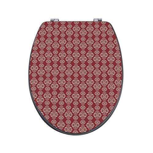 banjado Design Toilettensitz in Anthrazit | WC-Sitz Holz MDF 42,3×3,5×37,5cm | Klodeckel mit Edelstahl Scharnieren | Toilettendeckel mit Motiv Damast Rot 3