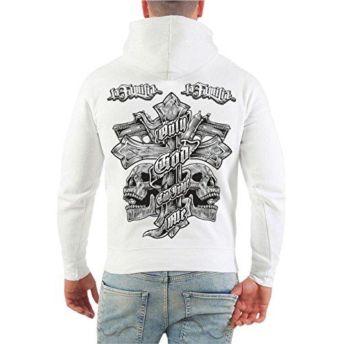 Männer und Herren Kapuzenpullover La Familia Judge Me (mit Rückendruck) Größe S - 8XL Weiß