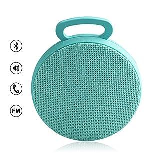 Aznoi 3W Bluetooth-Lautsprecher 3.0 Bluetooth Version mit Leinen Oberfläche, tragebarer mini Lautsprecher mit Hake, Minimalismus Speaker mit Kabel und USB-Anschluss für Reise, zu Hause oder Auto. (Blau)