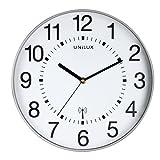 UNILUX 400094565 große Funk-Wanduhr Maxi Wave metallgrau 37,5 cm Funkuhr mit modernem Ziffernblatt automatische Zeitanpassung und Zeitumstellung von Sommer- und Winterzeit