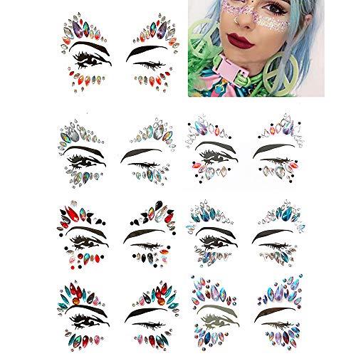 Auge Edelsteine Tattoo Aufkleber Mädchen Weihnachtsgeschenke Frauen Eyeliner Halloween Dekor Flash Gesicht Bunte Strass Jewel Pack von 7 ()