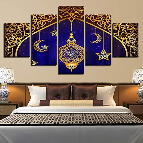 CNCN Rahmen Modulare Drucke Bilder Home Decor Rahmen 5 Stücke Islam Allah Der Koran Poster Muslim Mond Leinwand Malerei Wohnzimmer Wandkunst 20x35 20x45 20x55cm