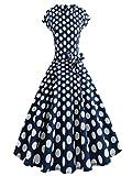 TUDUZ Damen 50er Vintage Kleid Retro A-Linie Ärmellos Rockabilly Blumen Abendkleider Cocktailkleid