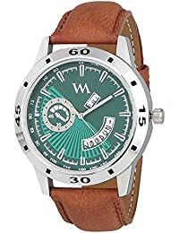 Watch Me Day And Date Analog Green Dial Brown Leather Strap Quartz Watch For Men And Boys AWC-024