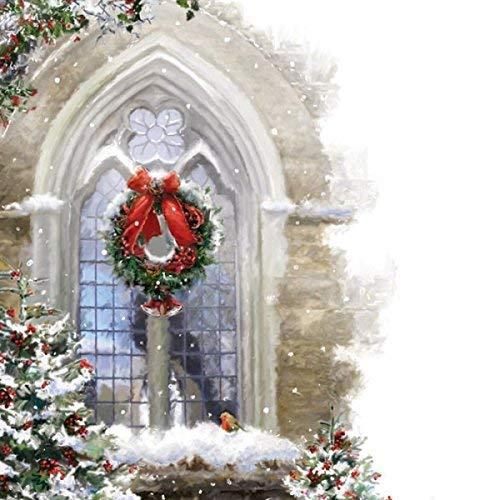 Musical Weihnachten karte Kirche Fenster. Offen Gruß Karte und hear 15-20 sekunden von die carol Leise Nacht gesungen von Portsmouth Kathedrale Chor