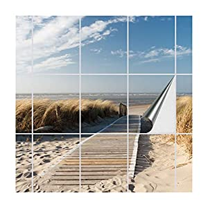 FoLIESEN Fliesenaufkleber für Bad und Küche   Fliesenposter Weg zum Strand   Fliesengröße 20x25 cm (LxB)   Fliesenbild 18 TLG. - 120x75 cm (LxB)