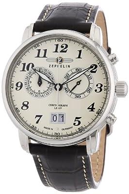 Reloj de caballero Zeppelin LZ 127 Graf Zeppelin de cuarzo, correa de piel color marrón de Zeppelin