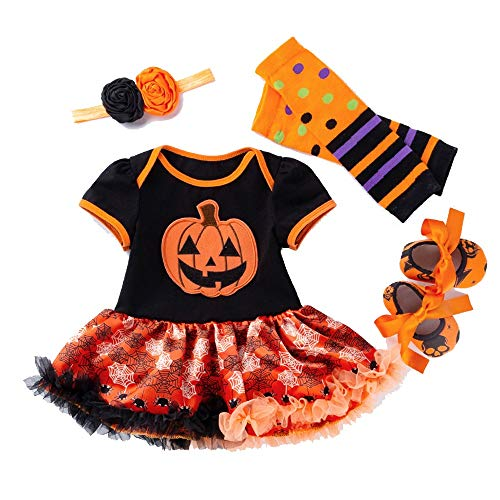 Zhongsufei Halloween-Spiele-Party Halloween 4pcs Infant Baby Mädchen Stirnband Strampler Kleid Beinlinge Schuhe Outfits Maskerade-Abendkleid (Farbe : Rot, Größe : S)