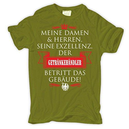 Männer und Herren T-Shirt Seine Exzellenz DER GETRÄNKEHÄNDLER Moosgrün