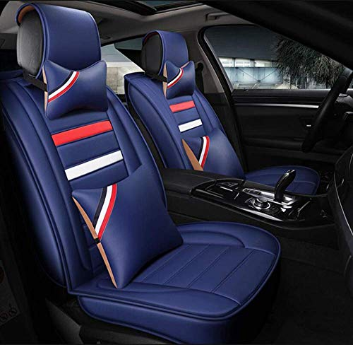 QIONGS Auto-Sitzabdeckung,Persönlichkeit Mode Vorne Hinten 5-Sitz Leder Kompatibel mit Renault Auto-Sitzbezug: Koleos, Kadjar, CAPTUR, Laguna, Scenic, Raum, Blau, Espace
