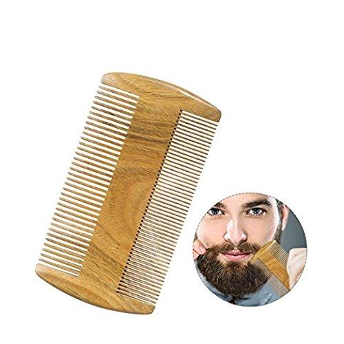 Ariel-gxr Bartkamm Holz, Antistatischer Holzkamm aus Sandelholz, Handgefertigt, Taschenkamm Zweiseitige für Professionelle Bartpflege - Zum Auftragen von Bartwachs und Bartöl