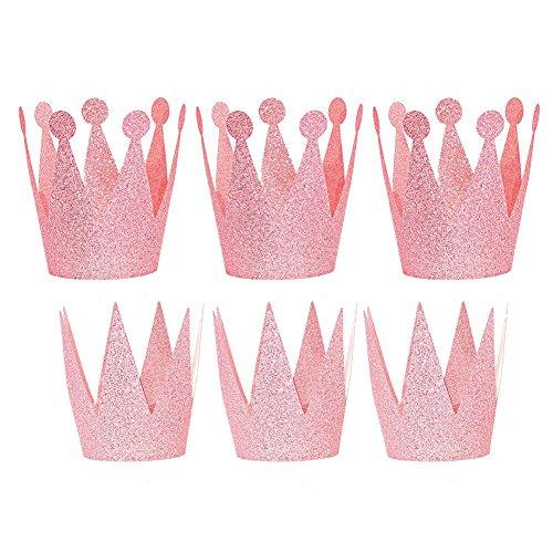 SunBeter 6 Stk Geburtstag Party Hut Papier Glitter Prince Princess Crown Hut für Jungen und Mädchen Geburtstag Dekor Zubehör (Pink)