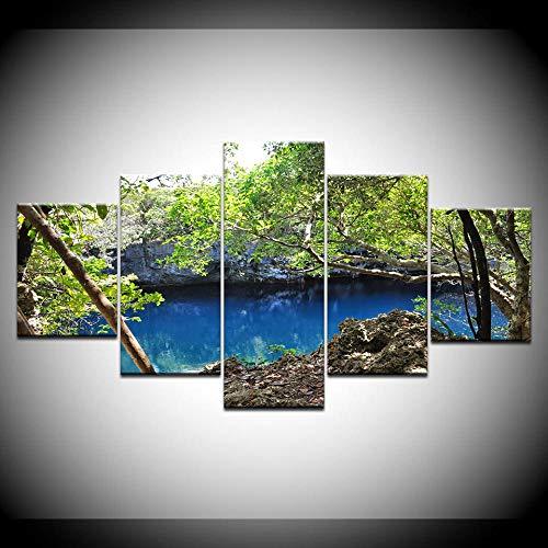 WEMUR 5 Panel Teile HD Druck grün Baum blau See Landschaft Wand Poster Druck leinwand Kunst malerei Wohnzimmer Dekoration gürtel_Frame_30X40_30X60_30X80cm -