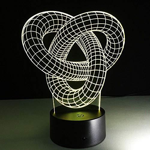 3D Illusion Lampe Geschlungener Knoten LED Nachtlicht, USB-Stromversorgung 7 Farben Blinken Berührungsschalter Schlafzimmer Schreibtischlampe für Kinder Weihnachts geschenk - C6 Mit Blauem Led-licht