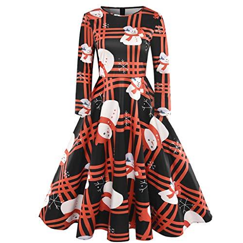 Luckycat WeihnachtsDamen Langarm O Hals Druck Vintage Kleid Abend Party Kleid Abendkleider Cocktailkleid Partykleider Blusenkleid Mode 2018