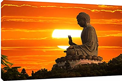 "MOOL 32 x 22-Inch Large ""Buddha Sunset"" Hand Stretched on a Wooden Frame with Giclee Waterproof Varnish Finish Ready to Hang Canvas Wall Art Print, Multi-Colour - inexpensive UK canvas store."